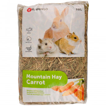 MOUNTAIN HAY WITH CARROTS 500gr FLAMINGO