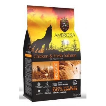 AMBROSIA DOG ADULT CHIC.&FRESH SALMON 12kg GF